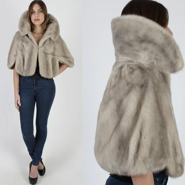 Vintage 60s Silver Mink Stole / Grey Mink Fur Under Collar Bolero / 1960s Luxurious Plush Mother Of The Bride Cape / Relined Capelet by americanarchive