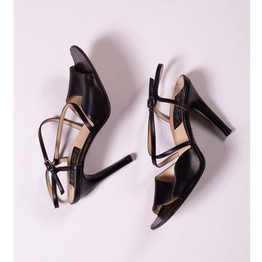Dolce & Gabbana Y2K Black Leather Open Strappy Pumps sz 36.5 6 Minimal High Heel Sexy Italian DG by backroomclothing