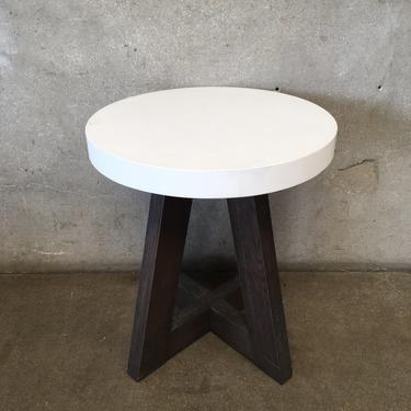 Complice End Table with Stone Top & Wood Base