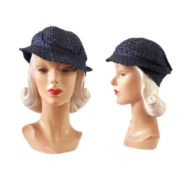 1930s Raffia Slouch Hat - 1930s Slouch Hat - 1930s Navy Blue Hat - 1930s Slouch Fedora - 1930s Womens Hat - 1930s Hat - 1930s Raffia Hat by VeraciousVintageCo