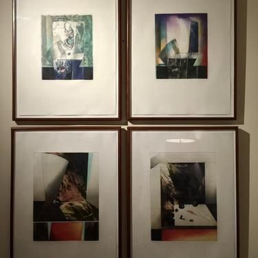 Set of 4 Signed Abstract Intaglio Prints by Kazuko Watanabe, Framed.