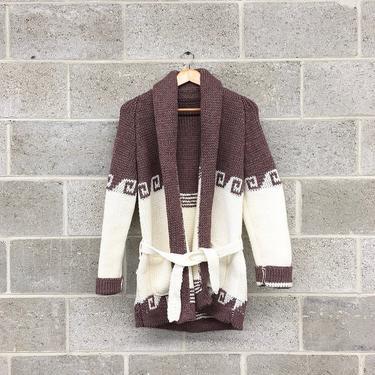 Vintage Sweater Cardigan Retro 1970s Hand Knit + Southwestern Print + Wrap or Tie Front + Purplish Grey and White + Unisex Apparel by RetrospectVintage215