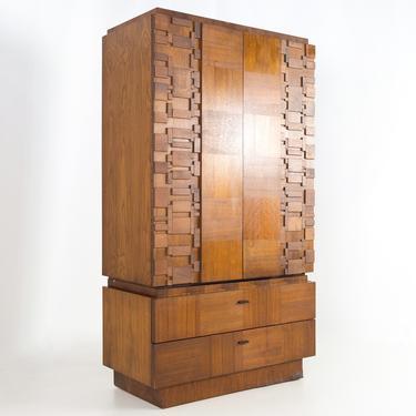 Lane Brutalist Mid Century 2 piece Walnut Armoire Gentleman's Chest Highboy Dresser - mcm by ModernHill