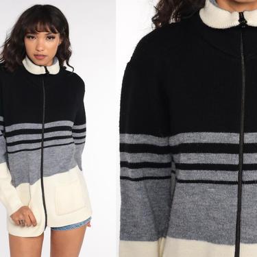 Striped Cardigan Sweater 70s Black Cream Zip Up Sweater Knit Color Block Sweater Bohemian Mock Neck Grandpa Boho 1970s Vintage Medium by ShopExile