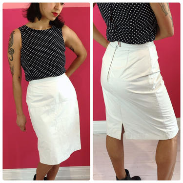 1980s White Leather Pencil Skirt by LostGirlsVtg