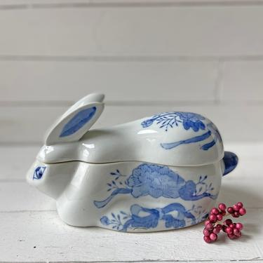 Vintage Blue And White Hand Painted Porcelain Bunny Box, Jar, Dish // Easter Candy Dish // Bunny Jewelry Dish // Perfect Gift by CuriouslyCuratedShop