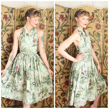 1950s Dress // NOS Toni Todd Floral Halter Dress // vintage 50s dress by dethrosevintage