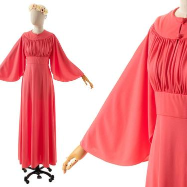 Vintage 1970s Maxi Dress   70s Salmon Pink Jersey Angel Sleeve Grecian Empire Waist Full Length Gown (x-small/small) by BirthdayLifeVintage