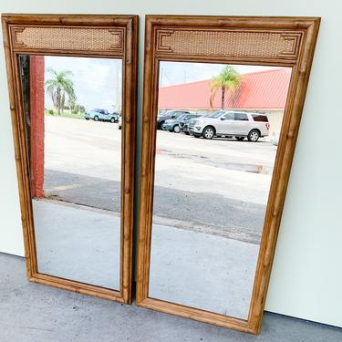 Pair of Faux Bamboo Seagrass Mirrors