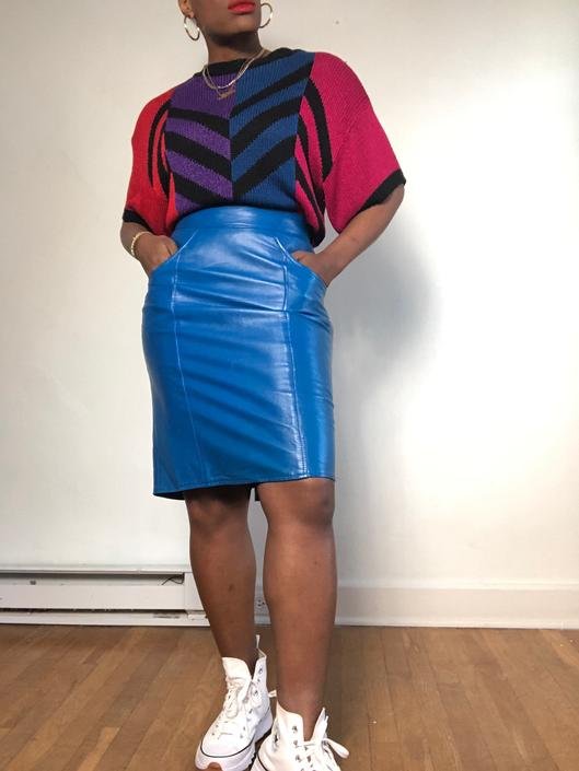 Vintage 1980s 1990s 90s High Waist Soft Leather Midi Skirt Fitted Pencil Designer Blue Color Block Pockets Small Medium Size 6 by KeepersVintage