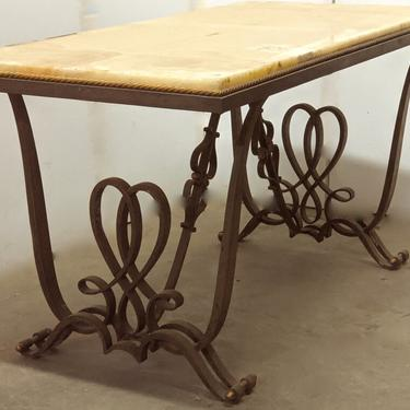 Raymond Subes forged iron coffee table with onyx top (#1630)