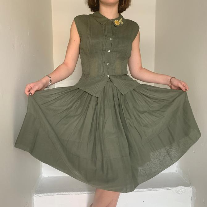 Sweet Unusual Color 1950s Skirt and Top Set Army Green 32 Bust Small Vintage by AmalgamatedShop