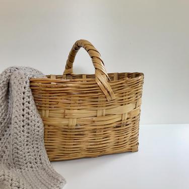 Large Woven Bamboo Rattan Basket, Big Oval Wicker Storage Basket with Handle, Vintage Handmade by PebbleCreekGoods