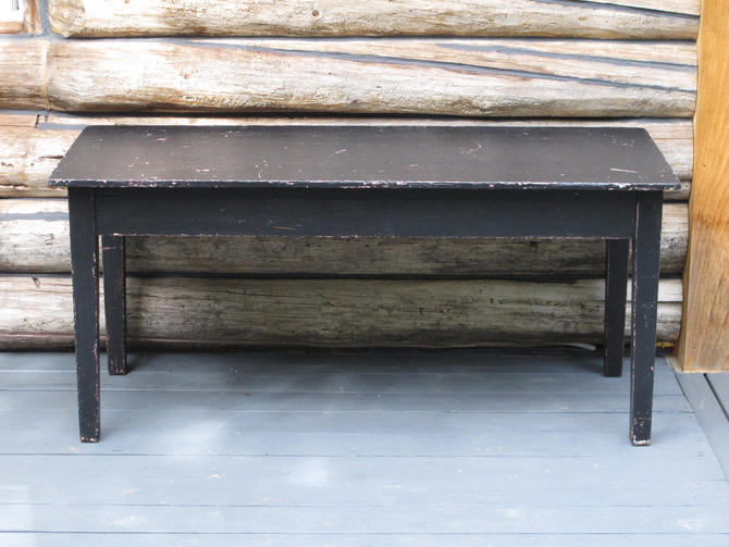 Painted Farmhouse Table Narrow Dining Table Chippy Distressed Table Scandinavian Black Entryway Hallway Table Wood Wooden Country Table by akaATA