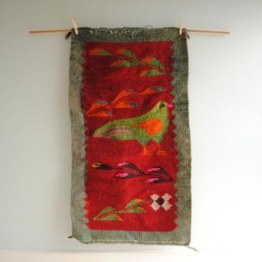 """Vintage Handwoven Bird Wool Rug or Wall Hanging, Bird and Flower Weaving Textile, Red and Green Folk Art Wall Hanging, 37"""" x 21"""" Weaving by LittleDogVintage"""