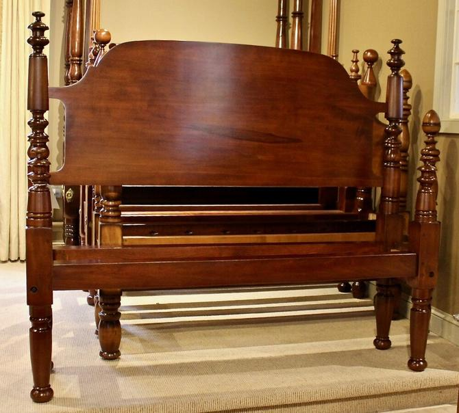 Spindle Top High-Low Style Bed in Maple, Original Posts Circa 1830, Resized to Queen