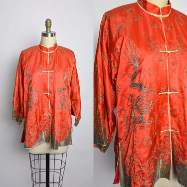 1920s 1930s Chinese Jacket Blouse 30s 20s Embroidered Dragon Embroidery by littlestarsvintage