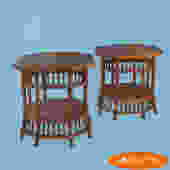 Pair of Stick Rattan End Tables