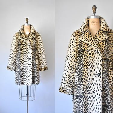 Foxy cheetah print coat, 60s faux fur coat, leopard coat, 60s clothing by ErstwhileStyle