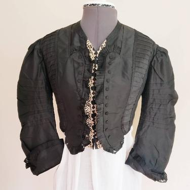Victorian Black Silk Jacket with Cream Lace Trim / 1800s Historical Costume Cropped Long Puffed Sleeved Jacket / S / Beulah by RareJuleVintage