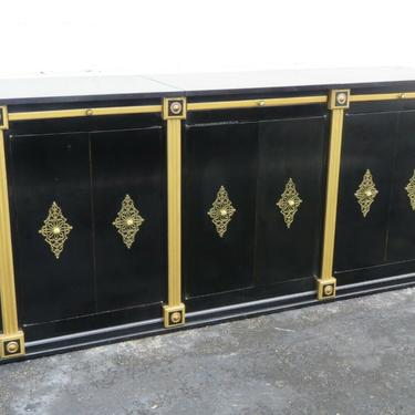 Hollywood Regency Painted Black Sideboard TV Console Bar Record Cabinet 2430