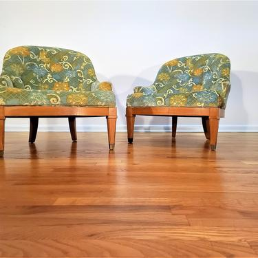 Mid Century Pair of Low Profile Tufted Lounge Chairs by ProRefineFurnishings