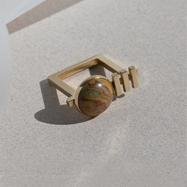 Brass and Lace Agate Ada Ring