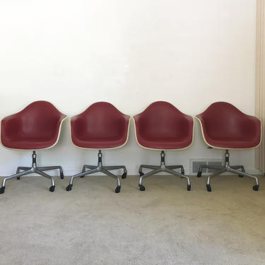 Herman Miller (4) Eames upholstered fiberglass arm shell chairs office base mid century by TripodModern