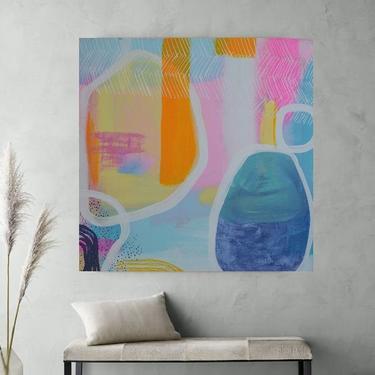 "Minimal Wall Art, Modern Home Decor, 36""x36"" Canvas Painting Abstract Minimalist Modern Original Contemporary Artwork Commission Art by ArtbyDinaD"