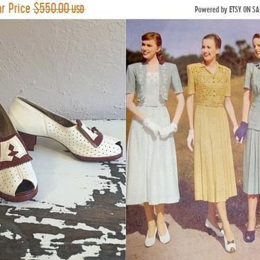 Bi-Annual Sale 35% Off Victory Golf Tournament - Vintage 1940s NOS Ivory Spectator Golf Heels Cognac Leather 8 1/2B by RoadsLessTravelled2
