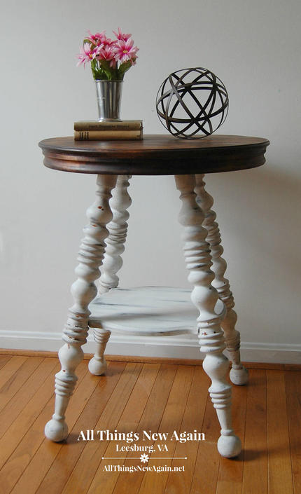 Round Table With Spindle Legs Table Painted White With Stained Top White Accent Table Farmhouse Side Table Rustic End Table By Allthingsnewagainva From All Things New Again Of Leesburg Va Attic