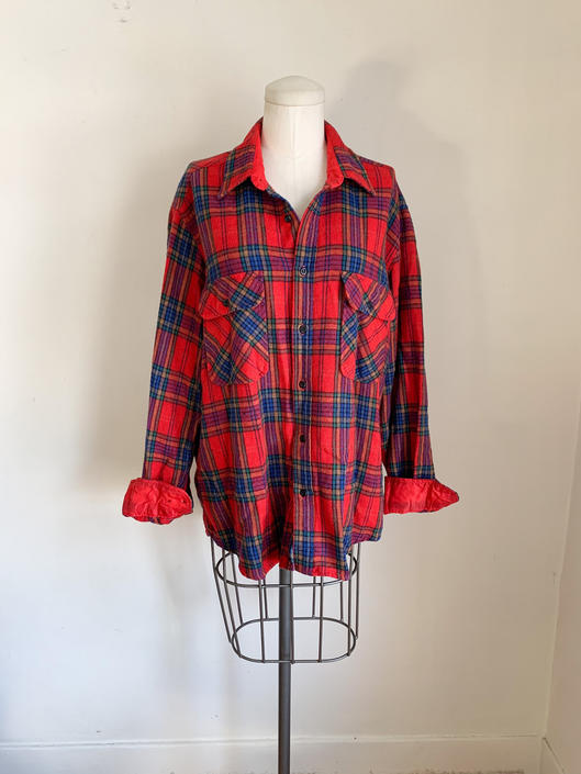 Vintage 1980s Wool Plaid Flannel Shirt // men's L by MsTips