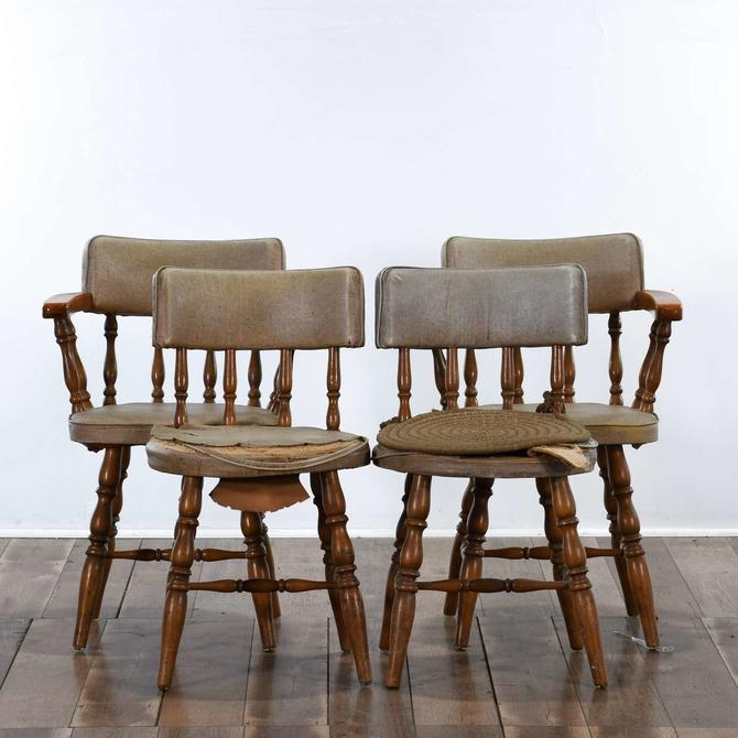 Set Of 4 Maple Craft Captain'S Dining Chairs