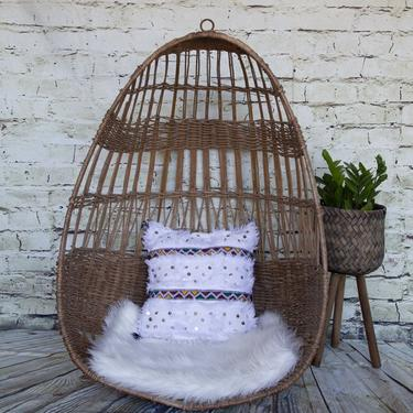 SHIPPING NOT FREE!!! Vintage Wicker Egg shape hanging chair/ No Stand! by WorldofWicker