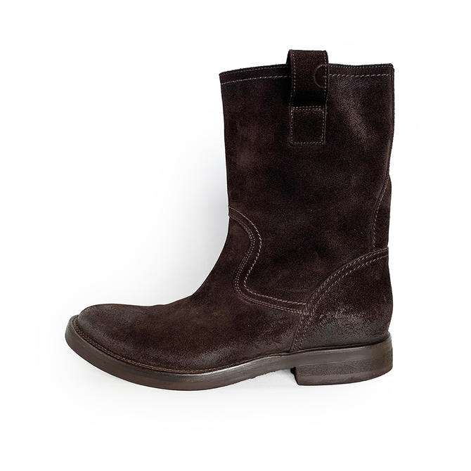 BUTTERO DARK BROWN SUEDE PULL ON BOOTS MADE IN ITALY