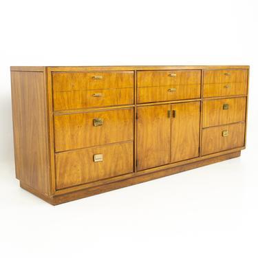 Drexel Heritage Consensus Mid Century Pecan and Brass 9 Drawer Lowboy Dresser - mcm by ModernHill