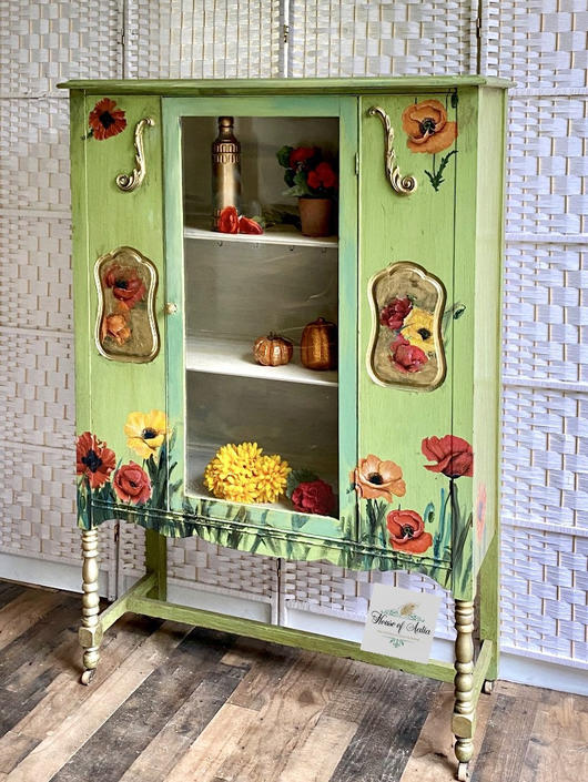Green poppies Boho chic china cabinet antique hutch linen cabinet entryway cabinet antique bookcase by HouseofAalia