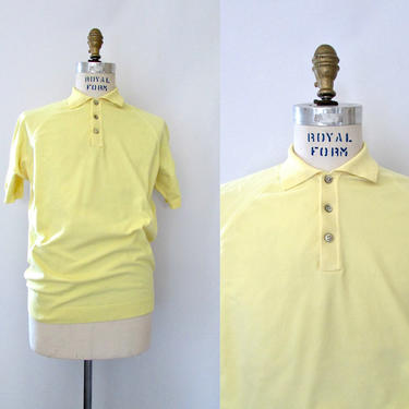 ROCKSTEADY Ban Lon Continental Vintage 60s Shirt | 1960s Yellow Pullover Polo Nylon Knit | 70s 1970s, Ska Scooter, Mod | Mens Size Medium by lovestreetsf