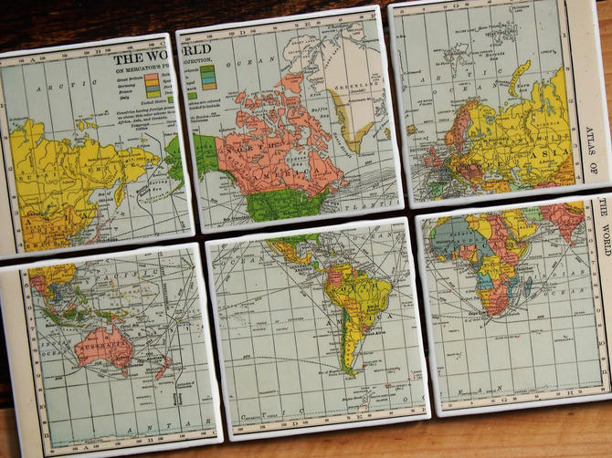1909 World Map Handmade Repurposed Vintage Map Coasters - Ceramic Tile Set  of 6 - Repurposed 1900s Hammond Atlas - Mercator Projection by allmappedout