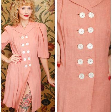 1940s Dress // Pink Gertrude Wool Dress // vintage 40s dress by dethrosevintage