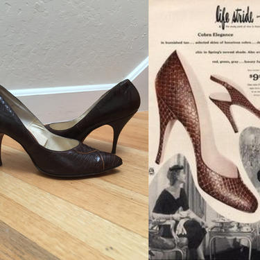 A Sneak Attack - Vintage 1950s 1960s Brown Faux Reptile Stiletto High Heels Shoes Pumps - 9/9.5 by RoadsLessTravelled2