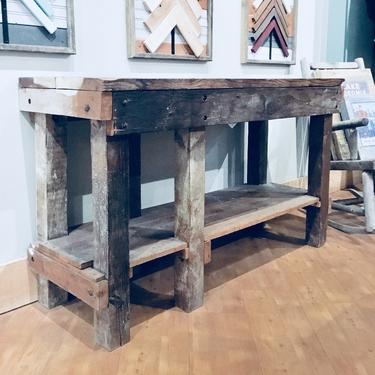 Reclaimed Workbench   Kitchen Island   Wood Work Bench   Rustic Bar   Bar Height   Rustic Console Table by PiccadillyPrairie