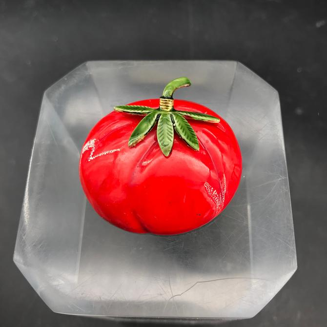 Tomato Brooch Original by Robert Enameled iconic Vintage Mid-Century by BrainWashington