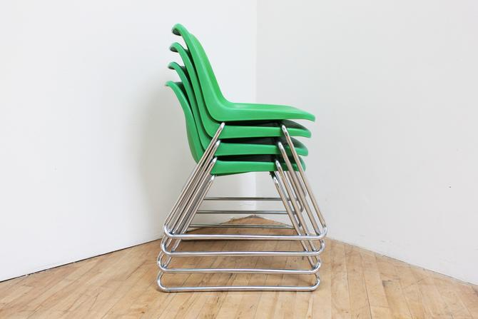 Vintage Molded Plastic Chairs Stacking Green Howell Charles Furey Shell Chairs Mid Century Modern Patio Dining by 330ModernAntique