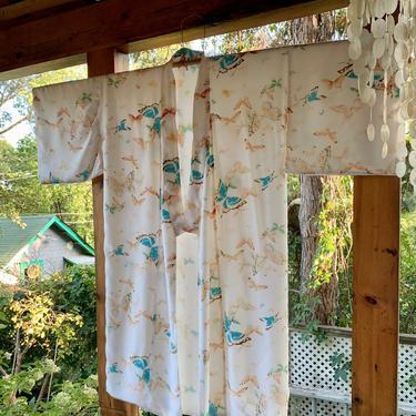 Vintage Butterfly Kimono - Japanese Kimono - White Butterfly Printed Cotton - Sheer White Rayon Lining - Size Medium by GabrielasVintage