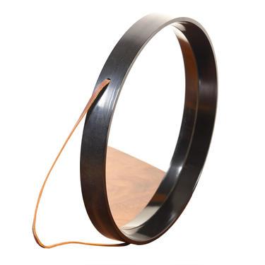 Danish Modern Round Hanging Black Frame Mirror with Leather Strap