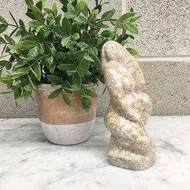 Vintage Statue Retro 1980s Contemporary + Small Size + Beige Marble + Body Sitting + Stone Figurine + Paperweight + Home and Bookshelf Decor by RetrospectVintage215