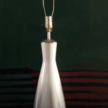 Mid Century Ceramic Lamp Gray and Gold Tints