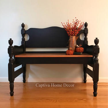 Reclaimed Barnwood Bedframe Bench Seat, Handmade Upcycled Seat, Painted Black, Top coat, Entryway Furniture, Mudroom, Living Room, Dining by CaptivaHomeDecor