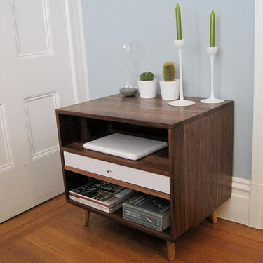 Mid Century Solid Walnut Bedside Storage Cabinet With Drawer Free Shipping and Delivery by jeremiahcollection